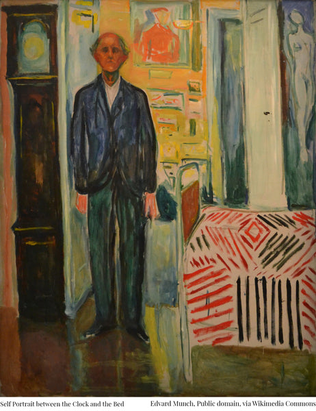 Edvard Munch - Self Portrait Between the Clock and the Bed