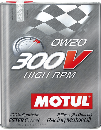 Motul 2L Synthetic-ester Racing Oil 300V HIGH RPM 0W20 - Never Ending Details