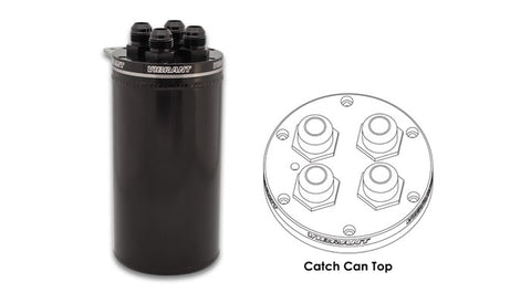 Vibrant 4in OD Universal Catch Can 2.0 w/ 4 Adapters Aluminum - Anodized Black - Never Ending Details