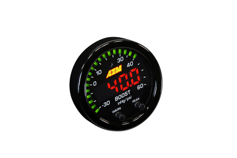 AEM X-Series Boost Pressure Gauge -30 to 60psi / -1 to 4bar - Never Ending Details