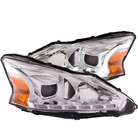 ANZO Projector Headlights w/ Plank Style Design Chrome - Nissan (Altima)