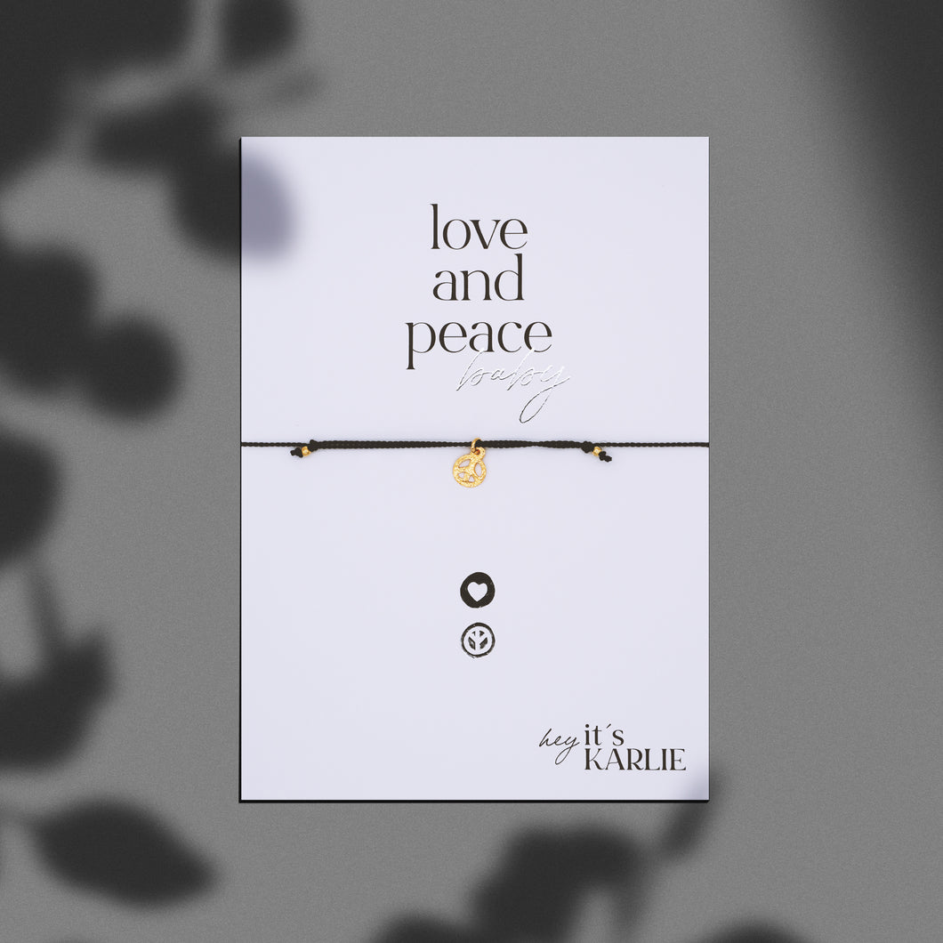 LOVE AND PEACE baby Armband, gold