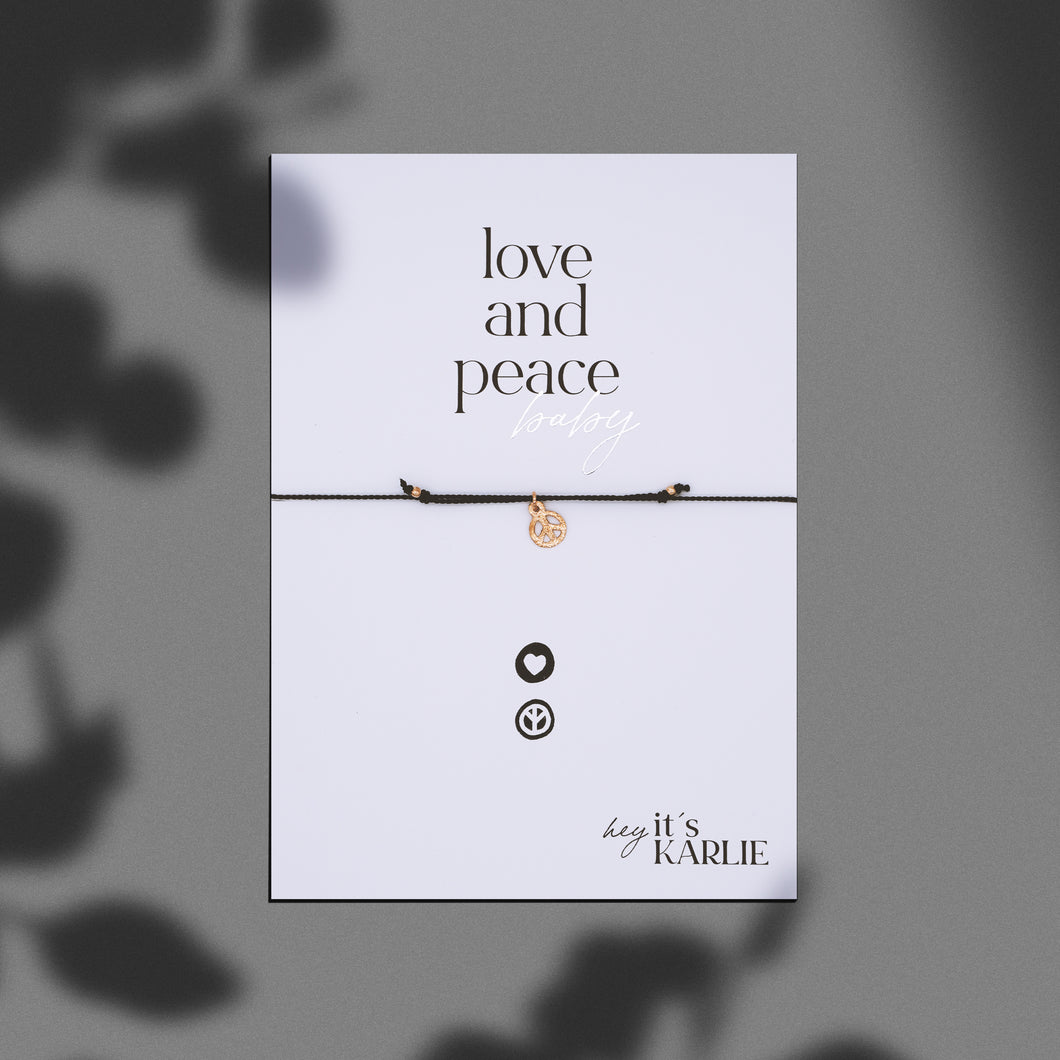 LOVE AND PEACE baby Armband, rosé