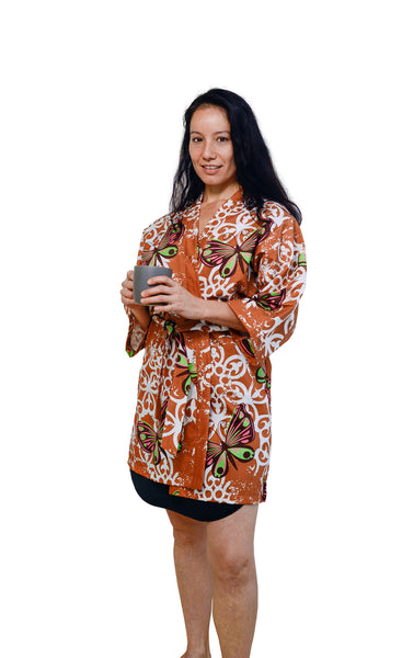 Butterfly Organic Cotton Sateen Short Robe - Dreamdesigns.ca