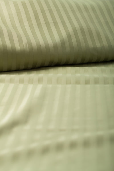 """Cypress"" Damask Stripe Organic Cotton Sateen Fitted Sheet - Dreamdesigns.ca"