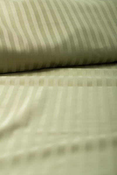 """Cypress"" Damask Stripe Organic Cotton Sateen Flat Sheet - Dreamdesigns.ca"