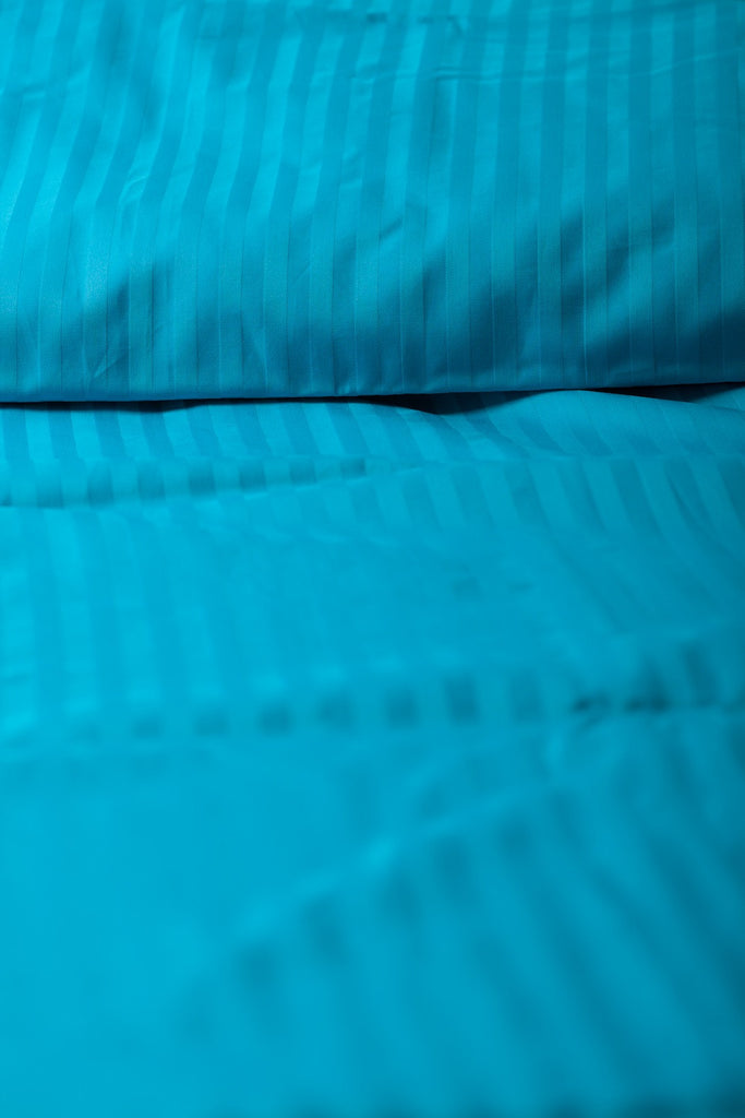"""Turquoise"" Damask Stripe Organic Cotton Sateen Duvet Cover - Dreamdesigns.ca"