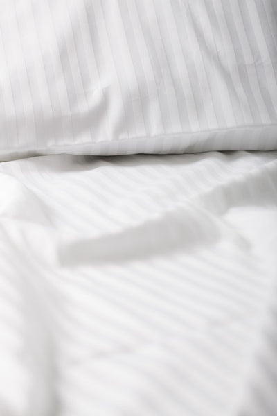 """White"" Damask Stripe Organic Cotton Sateen Flat Sheet - Dreamdesigns.ca"