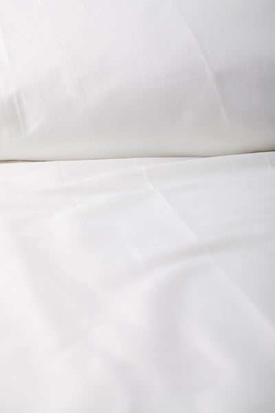 """White"" Organic Cotton Sateen Fitted Sheet - Dreamdesigns.ca"