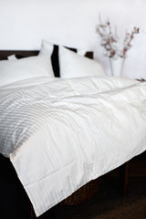 """Glacier"" Damask Stripe Organic Cotton Sateen Duvet Cover - Dreamdesigns.ca"