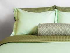 """Nutmeg"" Damask Stripe Organic Cotton Sateen Pillow Shams - Dreamdesigns.ca"