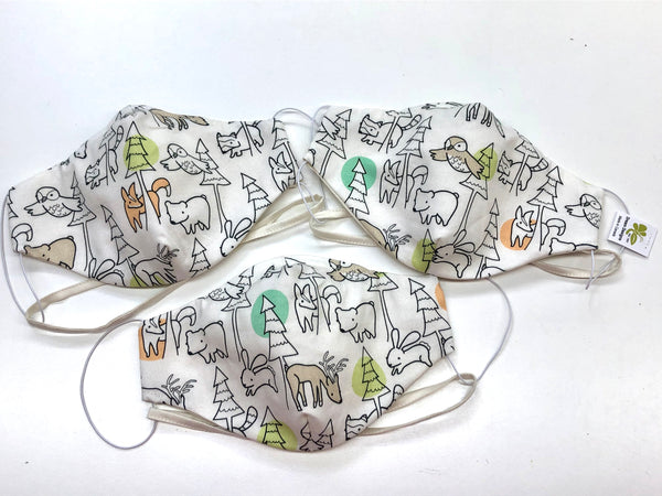 Limited Edition Prints Organic Cotton Face Mask: Forest Annimals