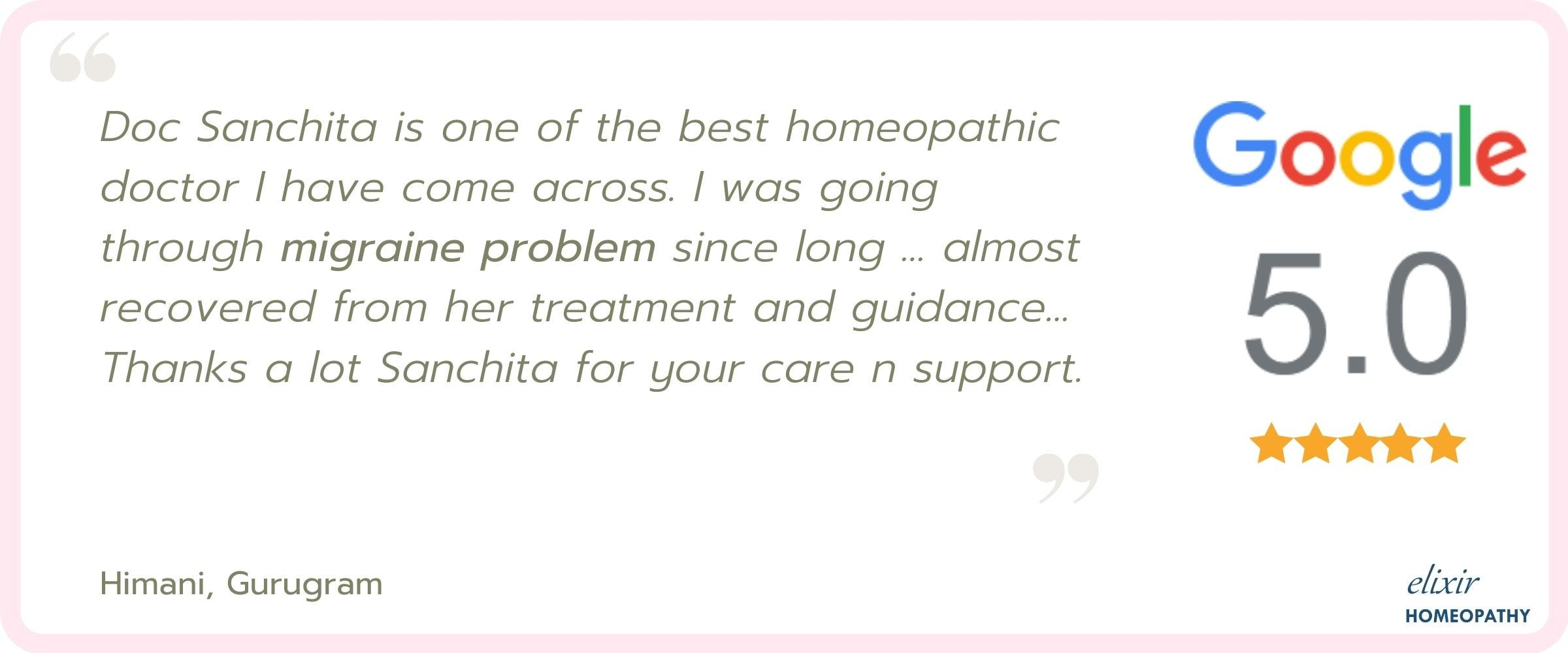 5-star rating and review by patient for homeopathic treatment of migraine.