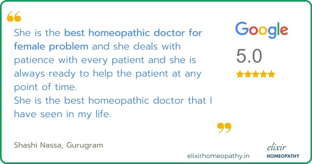 Google review with 5-star rating given to Elixir Homeopathy by a patient for successful treatment of her female infertility issues.