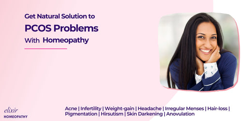 Title - Get natural solution to PCOS problems with Homeopathy. Shown logo of Elixir Homeopathy at left bottom corner. Right side shows five smiling Indian women depicting satisfaction with the treatment of PCOS. Also matches with the subtitle - let's get that smile back.