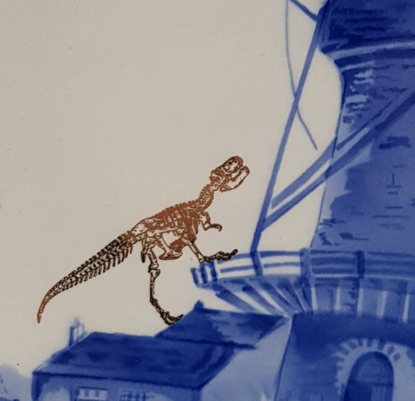 Gold Dinosaur Delft wall Plate large