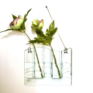 Double stem Recycled Glass Flower Vase