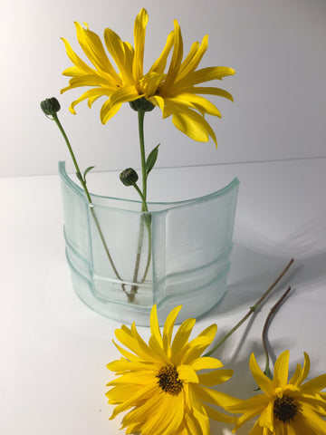 Recycled Glass Flower Vase - Self standing Single Stem