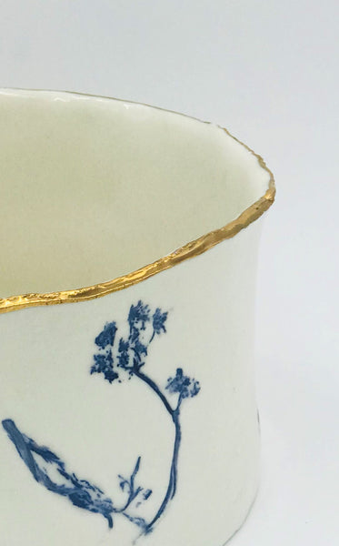 Blue cow parsley Porcelain Vessel