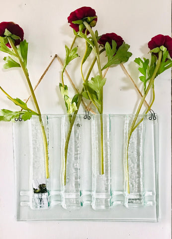 4 Stem Glass Flower Vase