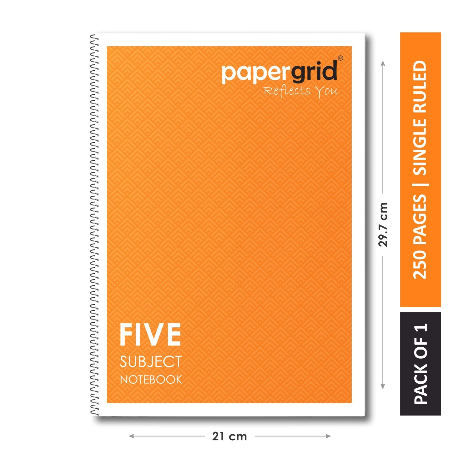 Papergrid Spiral Notebook - A4 (29.7 cm x 21 cm), Single Line, 5 Subjects, 250 Pages - Pack of 1