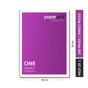 Papergrid Spiral Notebook - 24 X 18 cm, Single Line, 1 Subject, 160 Pages - Pack of 1