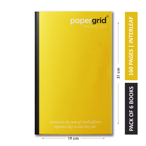 Papergrid Notebook - Long Book (31 cm x 19 cm), Interleaf, 160 Pages, Soft Cover - Pack of 6