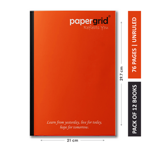 Papergrid Notebook - A4 (29.7 cm x 21 cm), Unruled, 76 Pages, Soft Cover - Pack of 12