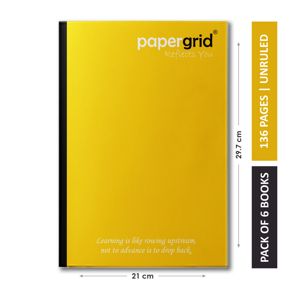 Papergrid Notebook - A4 (29.7 cm x 21 cm), Unruled, 136 Pages, Soft Cover - Pack of 6