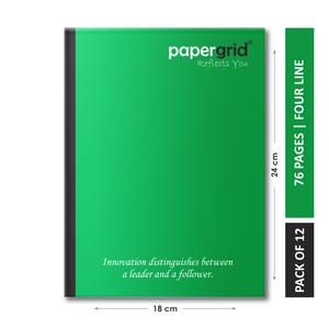 Papergrid Notebook - King Size (24 cm x 18 cm), Four Line, 76 Pages, Soft Cover - Pack of 12