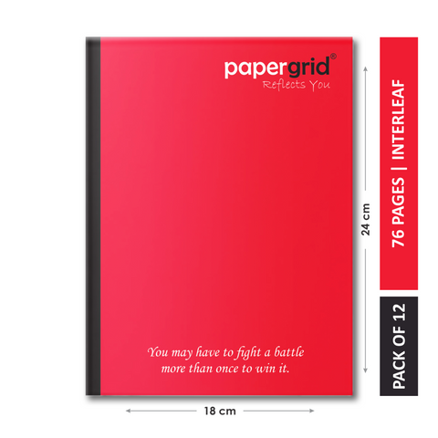 Papergrid Notebook - King Size (24 cm x 18 cm), Interleaf, 76 Pages, Soft Cover - Pack of 12