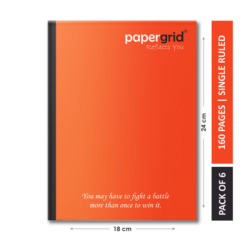 Papergrid Notebook - King Size (24 cm x 18 cm), Single Line, 160 Pages, Soft Cover - Pack of 6