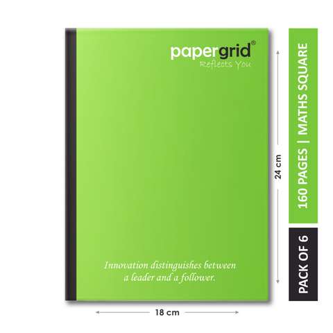 Papergrid Notebook - King Size (24 cm x 18 cm), Maths Square, 160 Pages, Soft Cover - Pack of 6