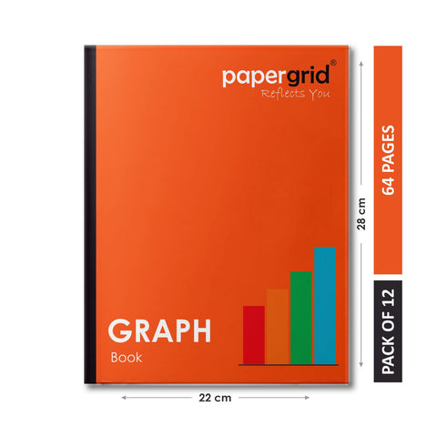 Papergrid Graph Book - 28 cm x 22 cm, 64 Pages, Soft Cover - Pack of 12