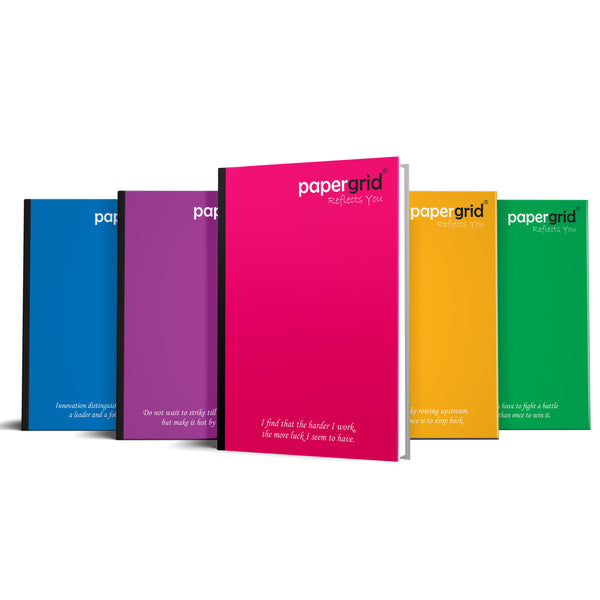 Papergrid Notebook - Long Book (33 cm x 21 cm), Single Line, 356 Pages, Hard Cover/Case Bound - Pack of 3