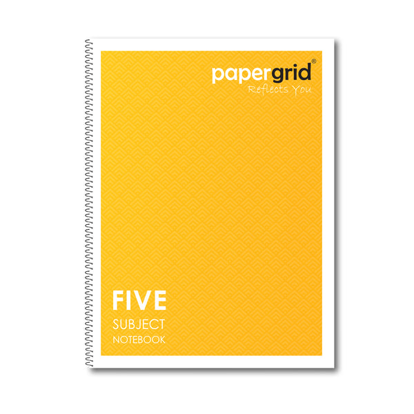 Papergrid Spiral Notebook - 26.7 x 20.3 cm, Single Line, 5 Subjects, 250 Pages - Pack of 1
