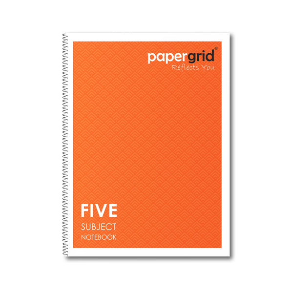Papergrid Spiral Notebook - 24 X 18 cm, Unruled, 5 Subjects, 250 Pages - Pack of 1
