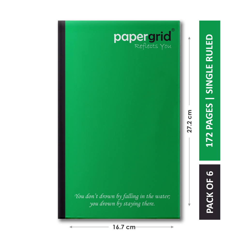 Papergrid Notebook - Cut Size Book (27.2 cm x 16.7 cm), Single Line, 160 Pages, Soft Cover - Pack of 6