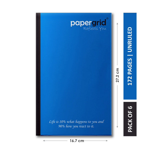 Papergrid Notebook - Cut Size Book (27.2 cm x 16.7 cm), Unruled, 160 Pages, Soft Cover - Pack of 6
