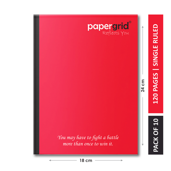 Papergrid Notebook - King Size (24 cm x 18 cm), Single Line, 120 Pages, Soft Cover - Pack of 10