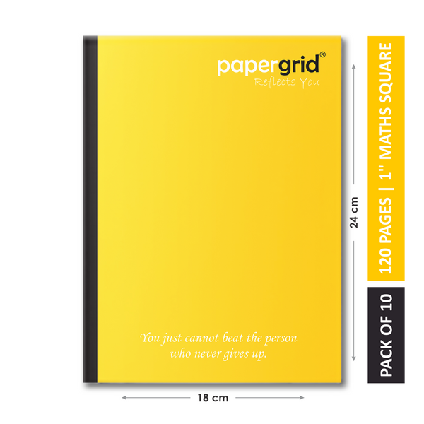 "Papergrid Notebook - King Size (24 cm x 18 cm), Maths Square (1""), 120 Pages, Soft Cover - Pack of 10"