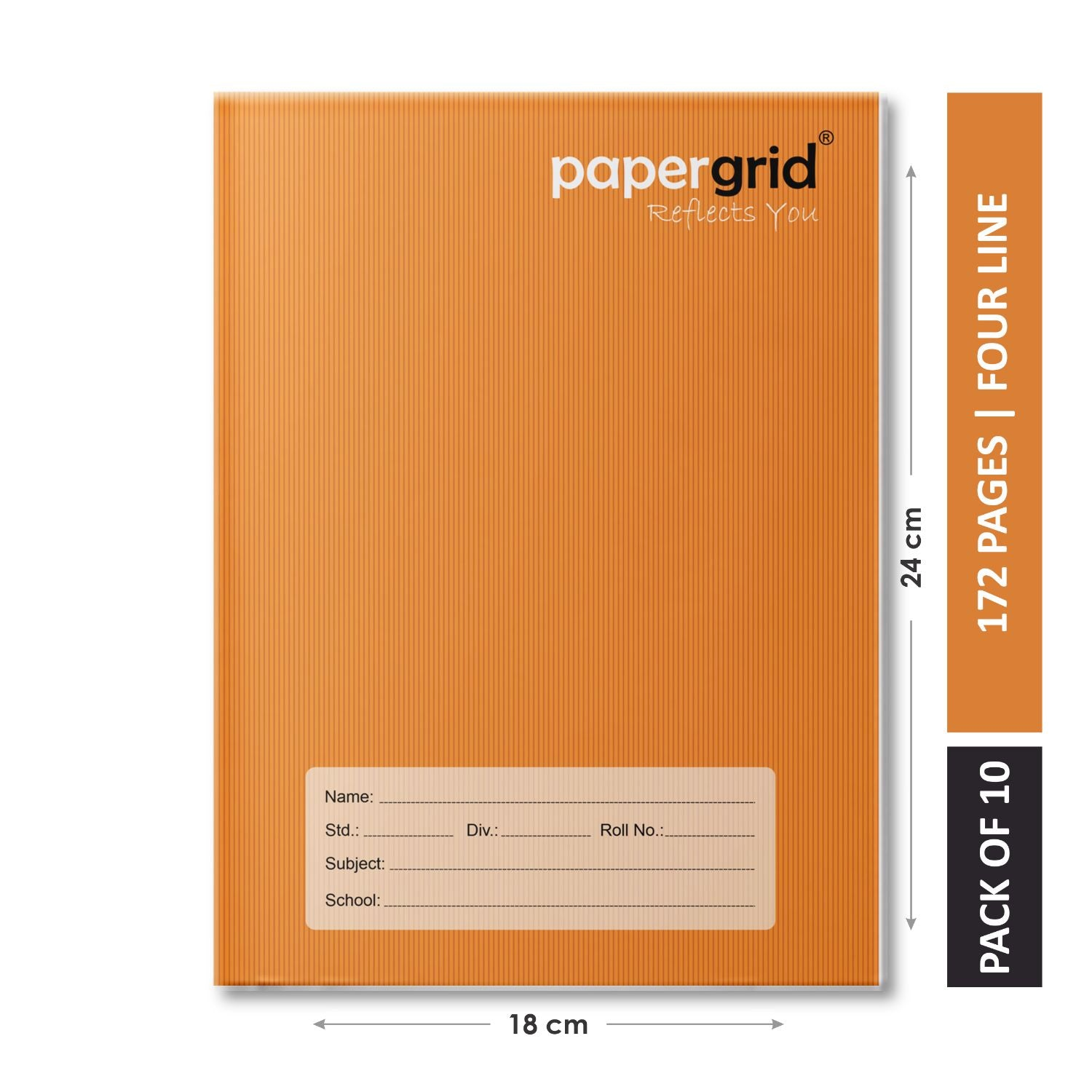 Papergrid Notebook - Brown Cover, King Size (24 cm x 18 cm), Four Line, 172 Pages, Soft Cover - Pack of 10