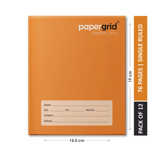 Papergrid Notebook - Brown Cover, Short Book (19 cm x 15.5 cm), Single Line, 76 Pages, Hard Cover - Pack of 12