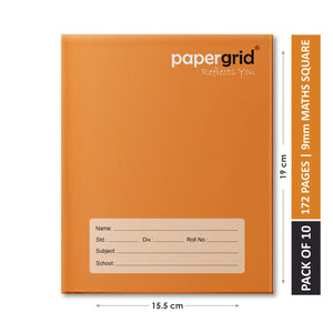 Papergrid Notebook - Brown Cover, Short Book (19 cm x 15.5 cm), Maths Square (9mm), 172 Pages, Hard Cover - Pack of 10