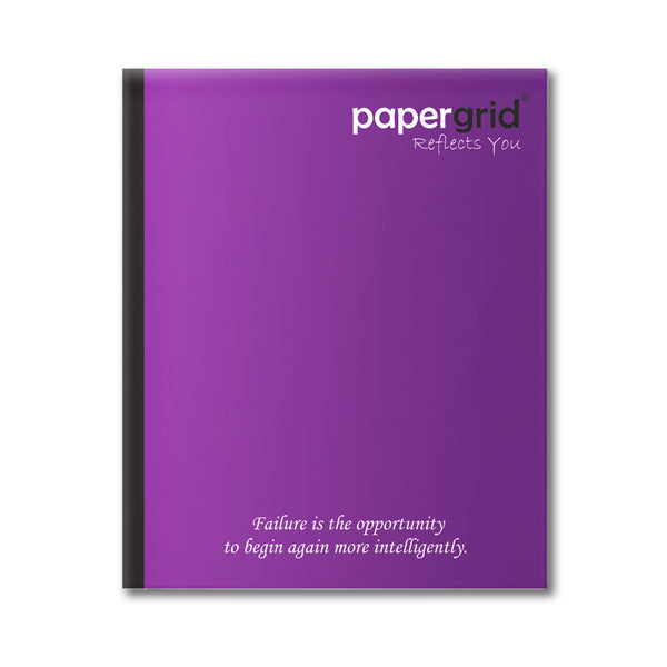 Papergrid Notebook - Short Book (19 cm x 15.5 cm), Maths Ruled, 72 Pages, Soft Cover - Pack of 12