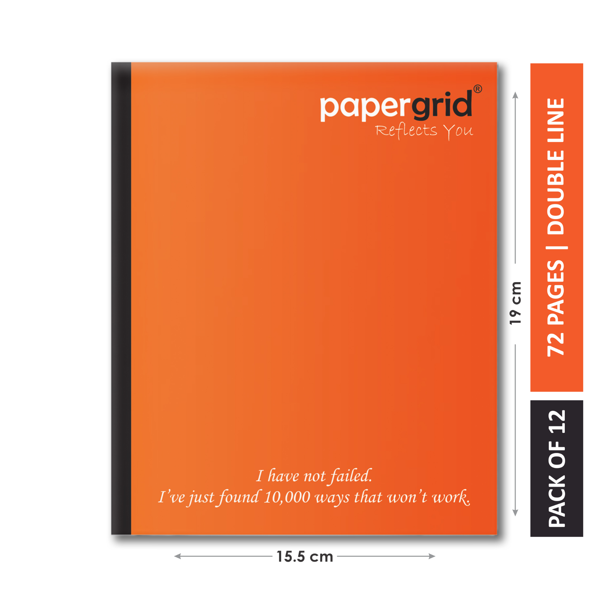 Papergrid Notebook - Short Book (19 cm x 15.5 cm), Double Line, 72 Pages, Soft Cover - Pack of 12