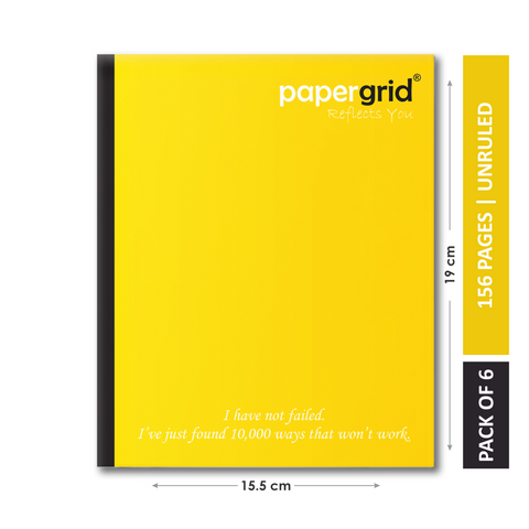 Papergrid Notebook - Short Book (19 cm x 15.5 cm), Unruled, 156 Pages, Soft Cover - Pack of 6