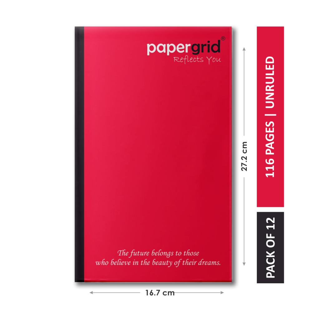 Papergrid Notebook - Cut Size Book (27.2 cm x 16.7 cm), Unruled, 116 Pages, Soft Cover - Pack of 12
