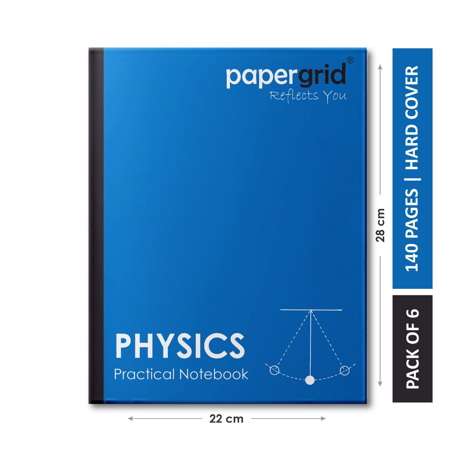 Papergrid Practical Notebook - Physics, 28 cm x 22 cm, 140 Pages, Hard Cover - Pack of 6