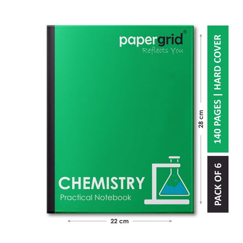 Papergrid Practical Notebook - Chemistry, 28 cm x 22 cm, 140 Pages, Hard Cover - Pack of 6